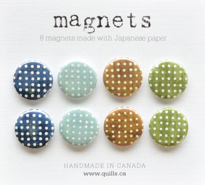 set of 8 blue & green dot magnets