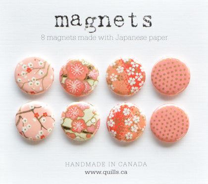 set of 8 coral pink magnets