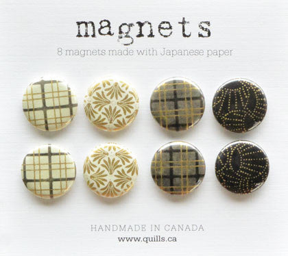 set of 8 black & ivory plaid magnets