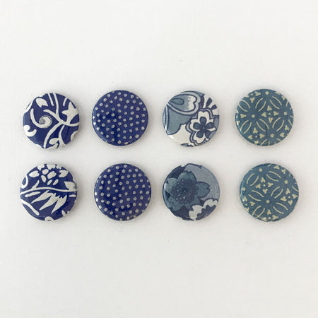 Set of 4 - Blue & White