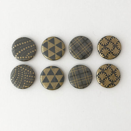 Set of 4 - Charcoal & Gold