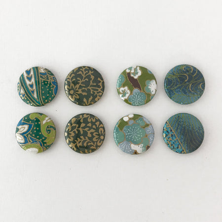 Set of 8 Green & Blue