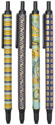 set of 4 retractable blue & gold pens (black ink)