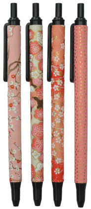 set of 4 retractable coral pink pens (black ink)