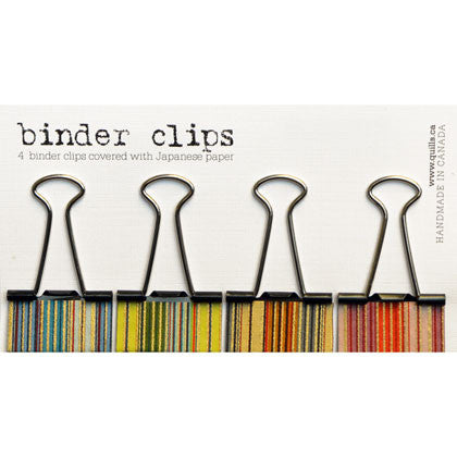 set of 4 medium stripe binder clips
