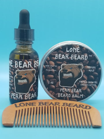 Perk Bear Oil and Balm Combo Set with Single Sided Comb