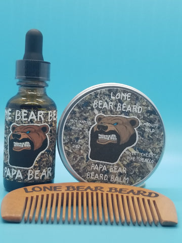 Papa Bear Oil and Balm Combo Set with Single Sided Comb