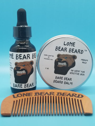Bare Bear Oil and Balm Combo Set with Single Sided Comb