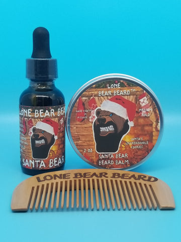 Santa Bear Oil and Balm Combo Set with Single Sided Comb