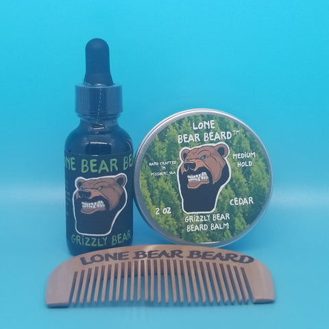 Grizzly Bear Oil and Balm Combo Set with Single Sided Comb