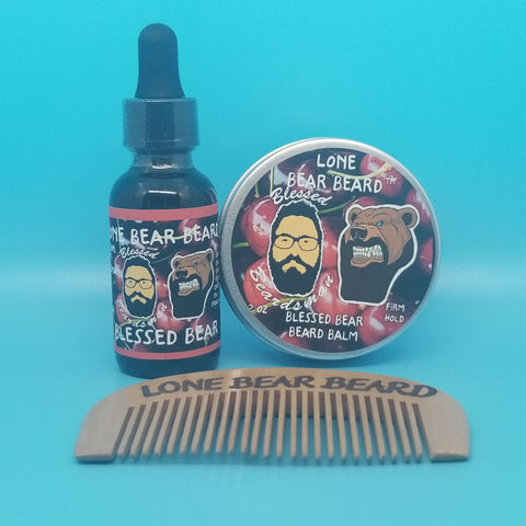 Blessed Bear Oil and Firm Hold Balm Combo Set with Single Sided Comb