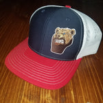 Lone Bear Beard Trucker Hat Red/Blue/White