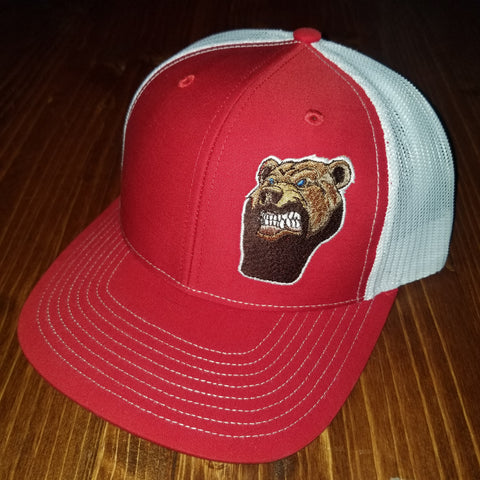 Lone Bear Beard Trucker Hat Red/White