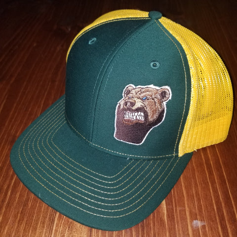 Lone Bear Beard Trucker Hat Green/Gold