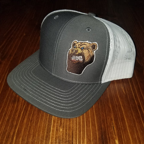 Lone Bear Beard Trucker Hat Grey/White