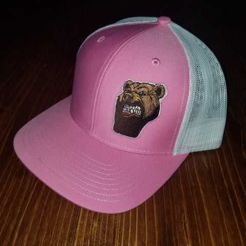 Lone Bear Beard Trucker Hat Pink/White