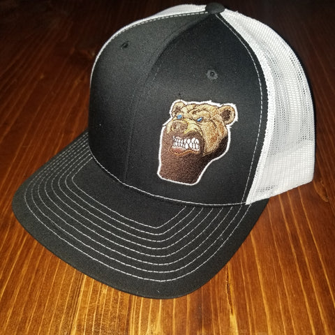 Lone Bear Beard Trucker Hat Black/White