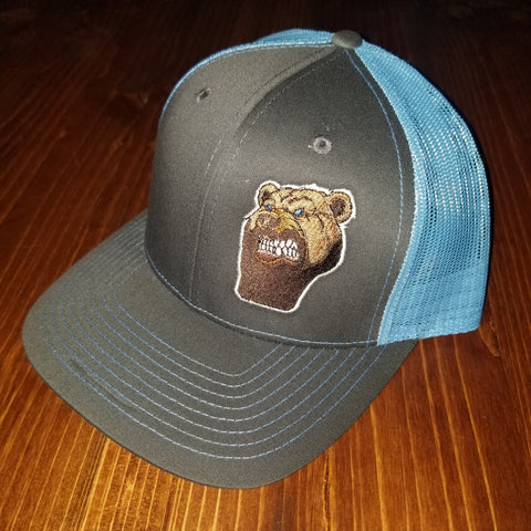 Lone Bear Beard Trucker Hat Charcoal/Columbia Blue