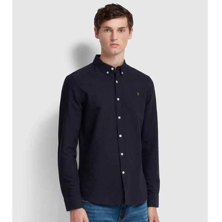 Farah Brewer Slim Fit Oxford Shirt - Navy