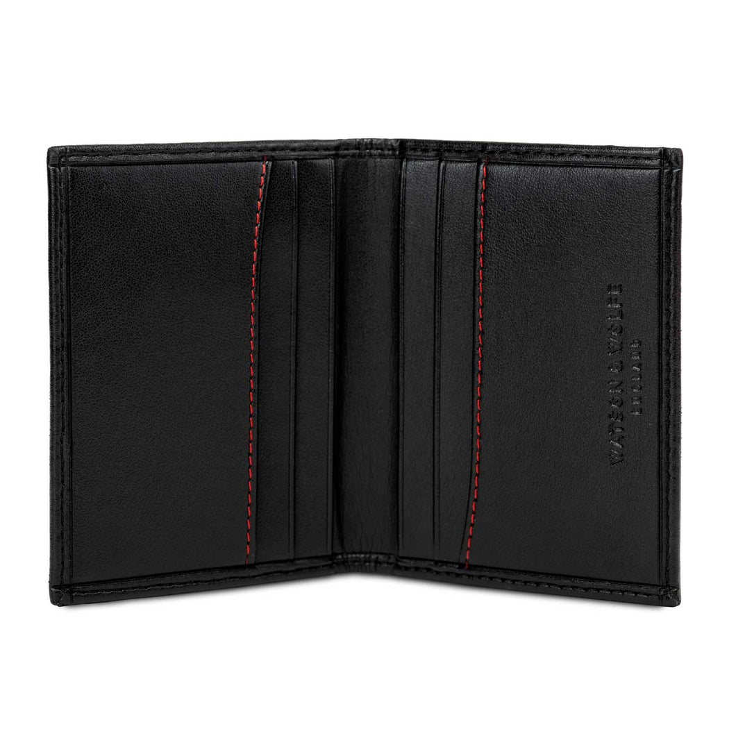 Watson & Wolfe Vegan Bifold Card Wallet - Black