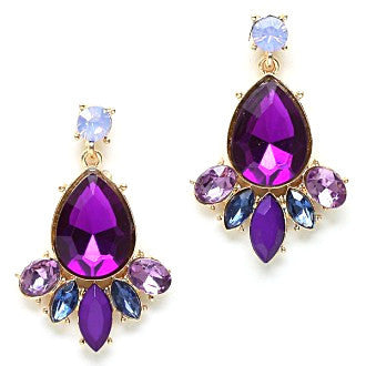 Crystal Amethyst Drop Earrings