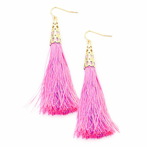 Bubblegum Pink Tassel Earrings