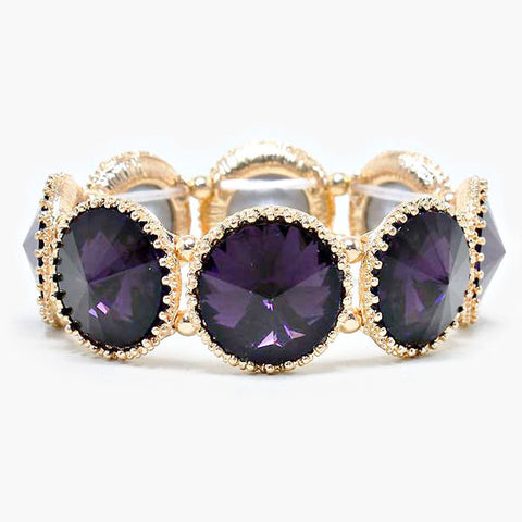 Crystal Amethyst Stretch Bracelet