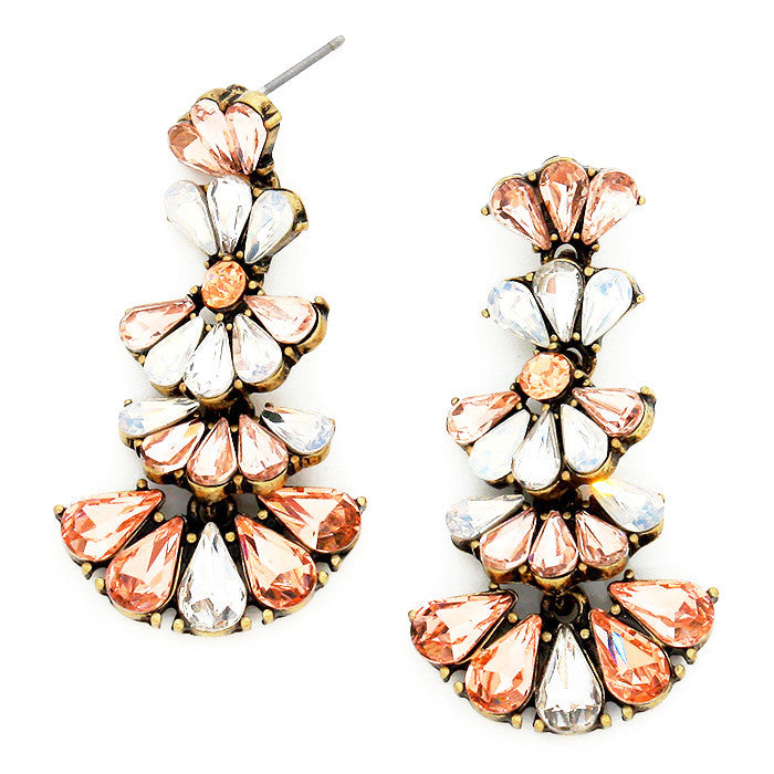 Crystal Couture Teardrop Earrings - Peach