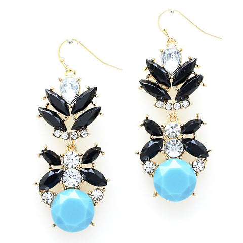 Crystal Onyx Drop Earrings