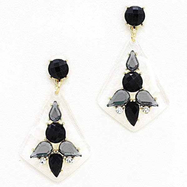 Frosted Crystal Drop Earrings