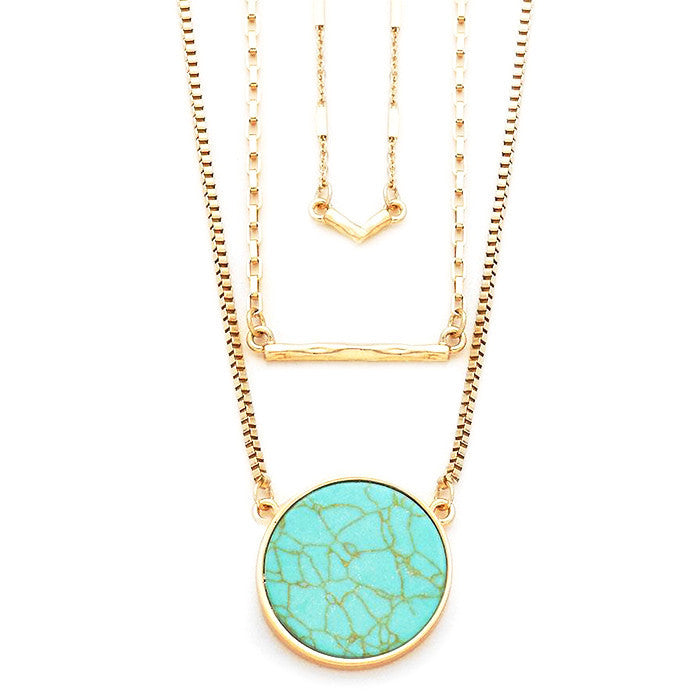 Turquoise Tiered Pendant Necklace