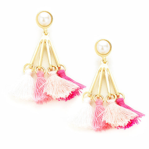 Viva la Pink Tassel Earrings