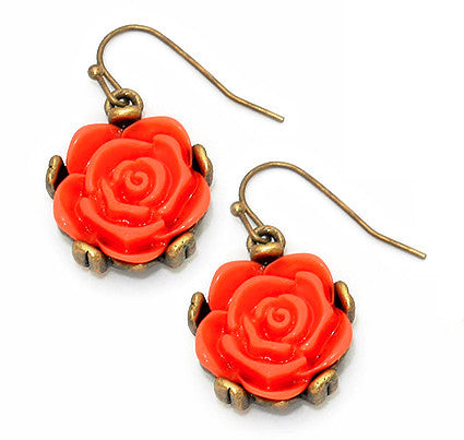 Autumn Rose Drop Earrings