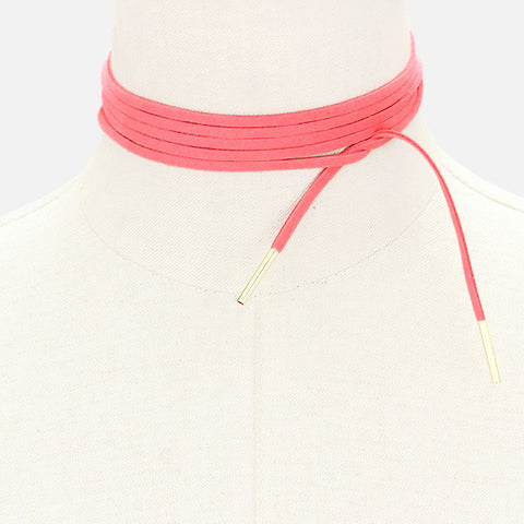 Chic Suede Wrap Choker - Peony Pink