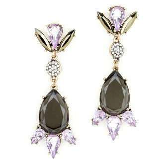 Crystal Luxe Drop Earrings - Amethyst