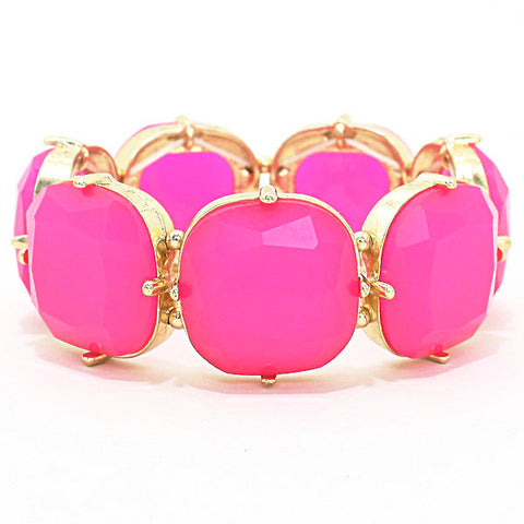 Flamingo Pink Stretch Bracelet