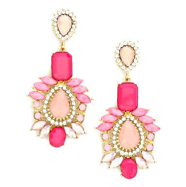 Peony Pink Drop Earrings