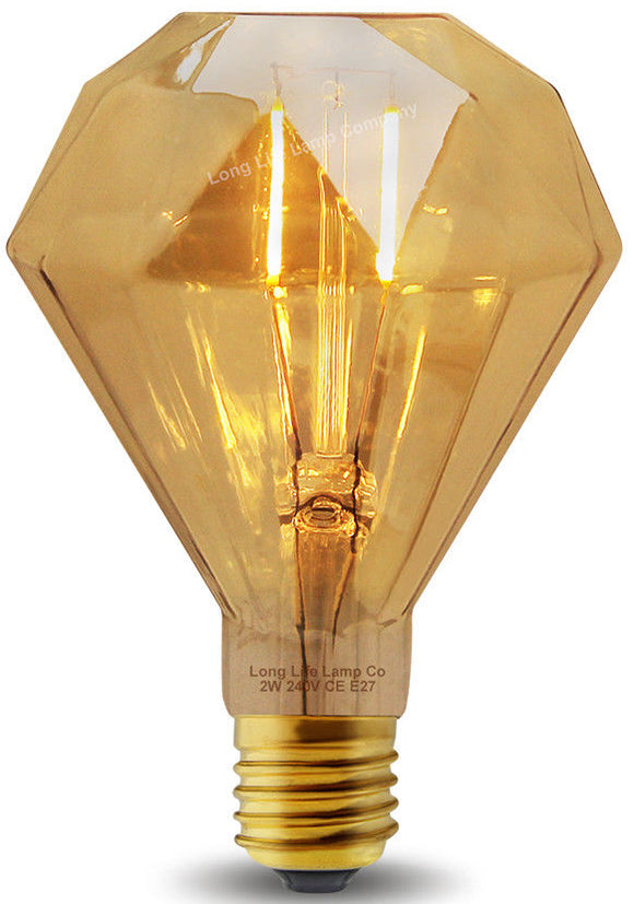 Diamond Shape Amber Vintage Light E26 / E27 Base Dimmable G40 8W LED 110V 2700K Warm White