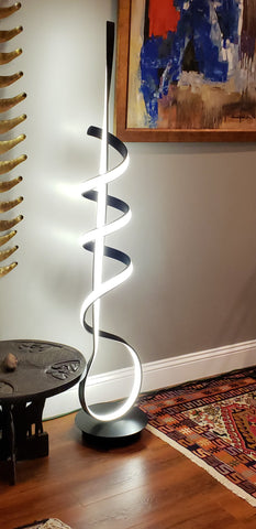 "LED Spiral Floor Lamp – Black Base with Black Spiral back on LED – Dimmable (Height 64.5"") Watts: 56W CRI>70 Light: 3000K, 4000K, 5000K Controlled with Remote or floor switch"