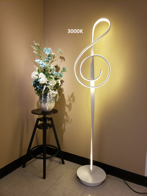 "LED Music Note Floor Lamp – Silver Base with Silver Music Note back on LED – Dimmable (Height 64.5"") Watts: 53W CRI>70 Light: 3000K, 4000K, 5000K Controlled with Remote or floor switch"