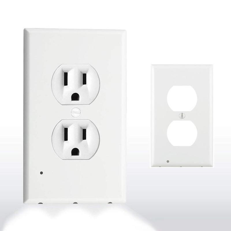 Outlet Wall Plate With Led Night Lights Lighted Outlet Cover Braw Ease