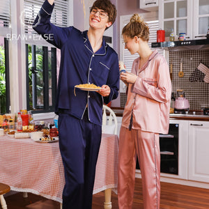BrawEase Mens Satin Button Up Long Sleeve Pajama Set