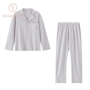 BrawEase Grey Mens Woven Cotton Long Sleeve Pajama Set
