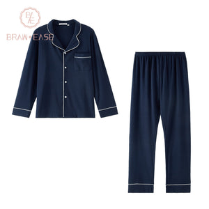 BrawEase Blue Mens Woven Cotton Long Sleeve Pajama Set