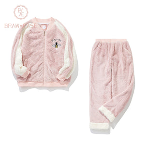 BrawEase Womens Embroidery Bee Pattern Flannel Pajama Set