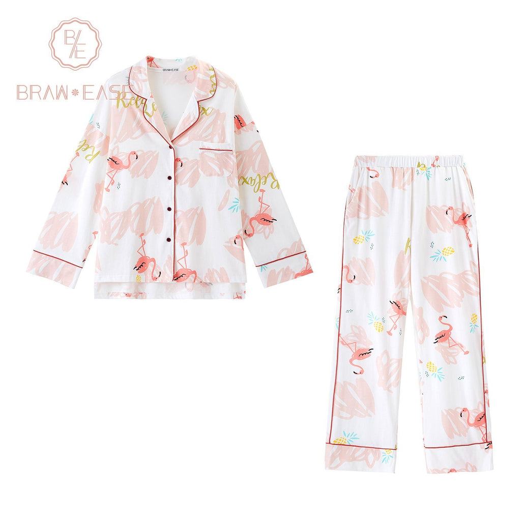 BrawEase Womens Flamingo Cotton Button Up Long Sleeve Pajama Set