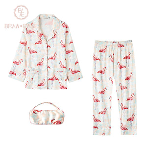 BrawEase Womens Flamingo Satin Button Up Long Sleeve Pajama Set with Eye Mask