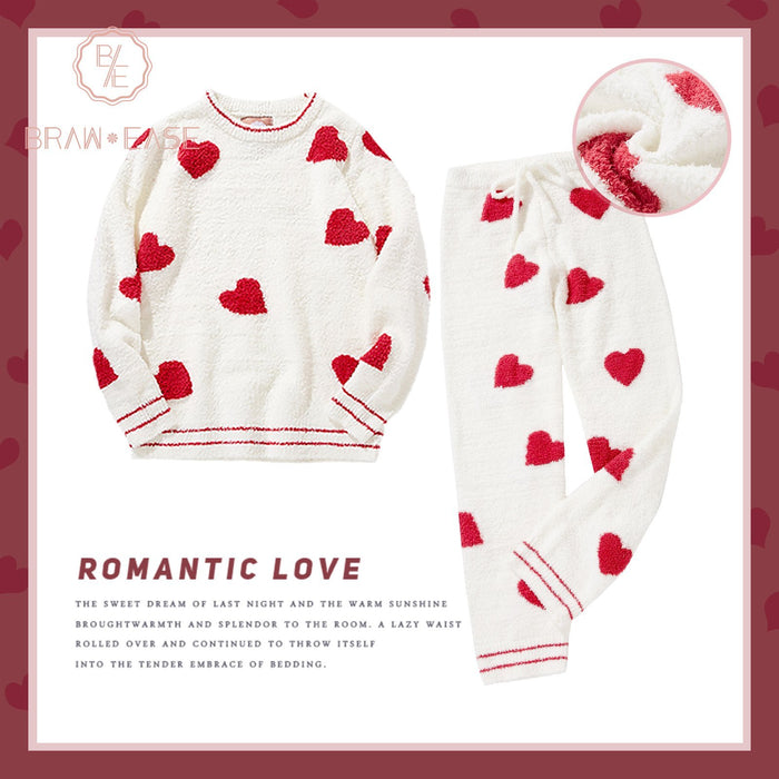 Womens Heart Print Flannel Long Sleeve Pajama Set