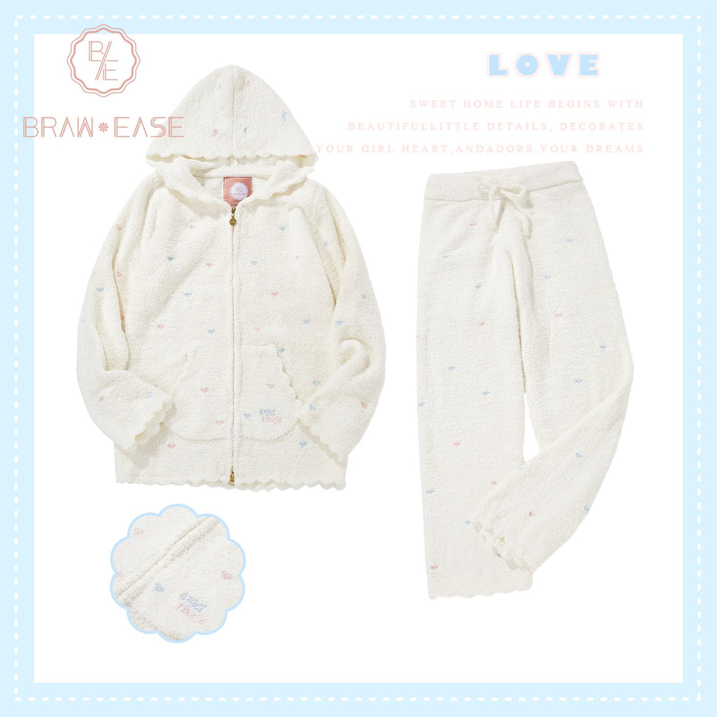BrawEase White Womens Little Heart Flannel Long Sleeve Hooded Pajama Set