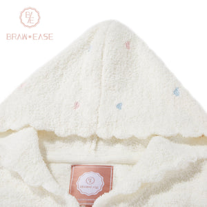 BrawEase White Womens Little Heart Flannel Long Sleeve Hooded Pajama Set Detail